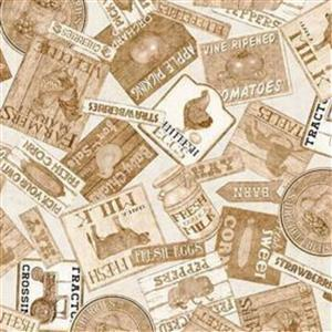 Green Pastures Farmers Market Labels on Gold Fabric 14m Bolt