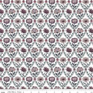 Liberty Summer House Collection in White & Brown Kew Trellis Fabric 0.5m