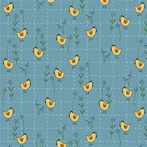 Henry Glass Backyard Happenings in Blue Cross Chicken Fabric 0.5m