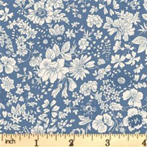 Liberty English Garden Collection Blue Emily Silhouette Fabric 0.5m
