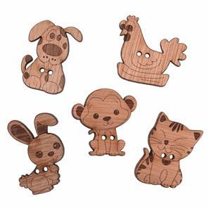 Wooden Buttons Animlas Pack Of 5