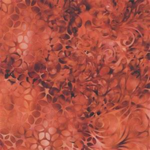 Dan Morris Effervescence Blurred Swirls Burnt Orange Fabric 0.5m