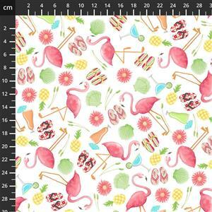 Let's Flamingle Summer Flamingo Fabric 0.5m