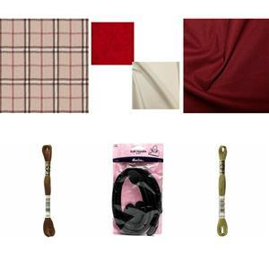 Plaid Folk Flower Tote Bundle: Fabric (1m), FQ's (2 Pcs), Bag Handle & 2 Skeins