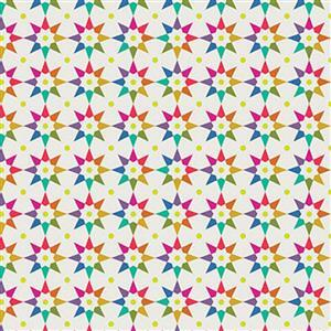 Alison Glass Art Theory Beige Multi Star Fabric 0.5m