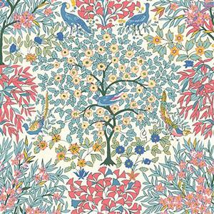 Liberty Orchard Garden Collection Pastel Multi Pheasant Garden Fabric 0.5m