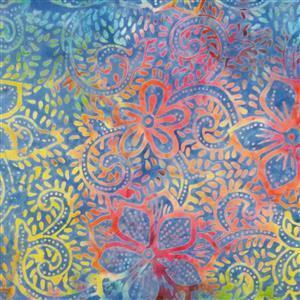 Artisan Bali Batik Petrol Fauna Fabric 0.5m