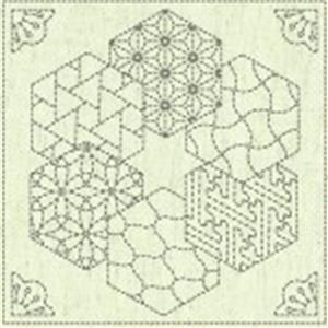 "Sashiko Hexi Fabric Panel 30 cm x 30 cm (12"" x 12"")"