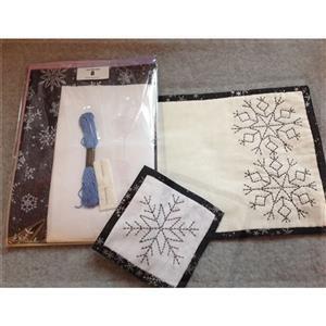 Sew with Beth Snowflake Sashiko Tableware Silver & Blue 2 x Coasters & 2 x Placemats