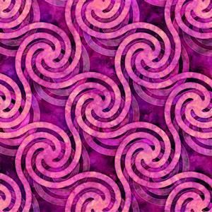 Dan Morris Adagio Pink Circle Swirl Fabric 0.5m