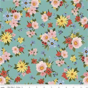 Riley Blake Beautiful Day Sea Glass Floral Fabric 0.5m