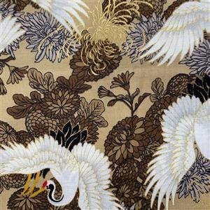 Kirakira Herons On Brown Fabric 0.5m