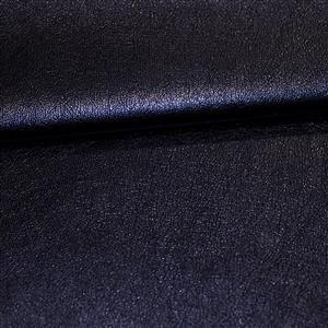 50% Viscose 50% PU Leather Fabric In Metallic Navy 0.5m