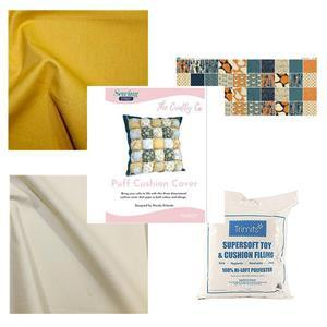 Wendy Orlando's Gold Puff Cushion Kit - Instructions, Panel, Fabric (1.5m) & Stuffing
