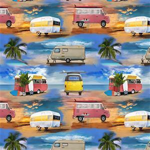 Retro Campers Surf Beach Large Caravan Fabric 0.5m