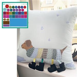 Bright Caterpillar & Dog Duo Storage Cushion Kit: Instructions, Fabric Panel, Fabric (1m) & Felt