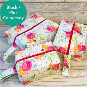 Living in Loveliness Beatrice Boxy Make Up Bag Kits Riley Blake Black / Pink Floral 2 x 0.5m Fabric & Pattern