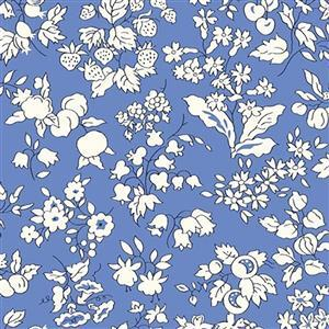 Liberty Orchard Garden Collection Blue Fruit Silhouette Fabric 0.5m