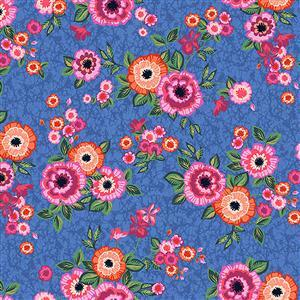 Marisol Bouquets on Blue Fabric 0.5m