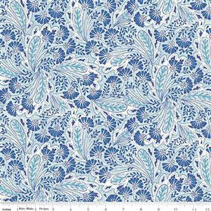 Liberty Summer House Collection in Blue Feather Dance Fabric 0.5m
