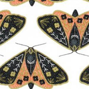 Moda Dwell In Possibility Dainty Moths on Ivory & Poppy with Gold Metallic Fabric 0.5m