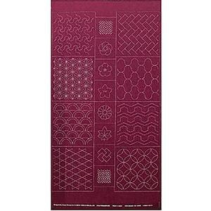 Sashiko Tsumugi Preprinted Geo 19 Deep Red Fabric Panel 108x61cm
