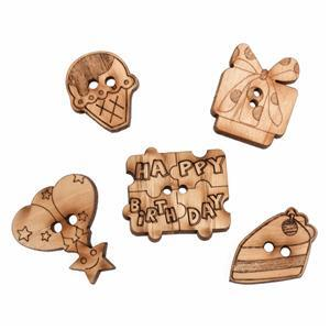 Wooden Buttons Birthday Pack Of 5