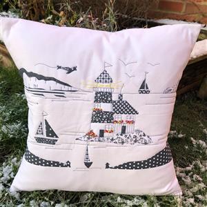 Delphine Brooks Coastal Monochrome Cushion Kit, Instructions, Fabric Panel & Fabric (0.5m)