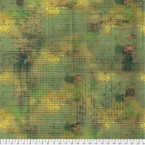 Tim Holtz Abandoned Principal Methods on Moss Fabric 0.5m
