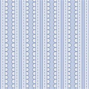 Basically Hugs Blue Scallop Stripe Fabric 0.5m