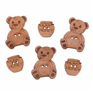 Wooden Buttons Teddy Pack Of 6