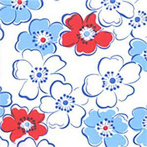 Moda Back Porch Red, White & Blue Flowers on White Fabric 0.5m