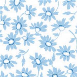 Moda Back Porch Blue Daisies on White Fabric 0.5m