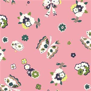 Liberty Carnaby Collection Fluttering Floral Pink Fabric 0.5m