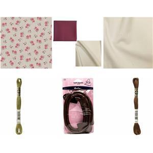 Pink Roses Folk Flower Tote Bundle: Fabric (1m), FQ's (2 Pcs), Bag Handle & 2 Skeins