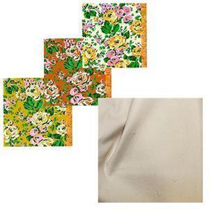 Posy Bright Trio Floral Fabric Baskets Bundle: FQ's (3 Pieces) & Fabric (1.5m)