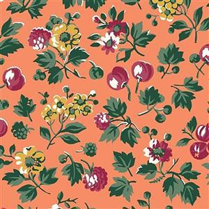 Liberty Orchard Garden Collection Orange Wild Cherry Fabric 0.5m