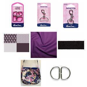 Copen Plumb Crazy Patchwork Bag Kit: Instructions, FQ Fabric Panel,Fabric (1.5m) & Haberdashery