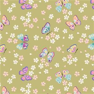 Lewis & Irene Love Blooms Butterflies On Green Fabric 0.5m