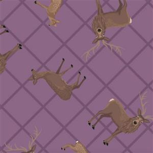 Lewis & Irene Loch Lewis Highland Stags On Mauve Fabric 0.5m