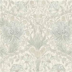 William Morris Mineral Light Grey Withered Floral Fabric 0.5m
