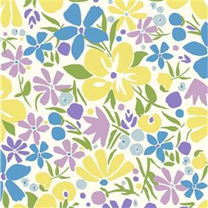 Liberty Carnaby Collection Bohemian Bloom Yellow and Blue Fabric 0.5m
