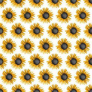 Show Me the Honey in Sunflower White Fabric 0.5m