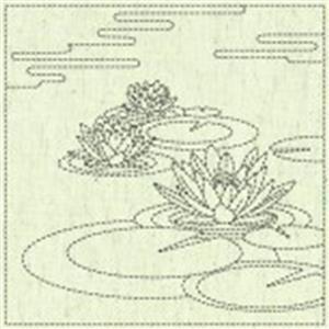 "Sashiko Lilly Pad Fabric Panel 30 cm x 30 cm (12"" x 12"")"