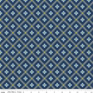 Liberty Summer House Collection in Dark Blue Manor Tile Fabric 0.5m