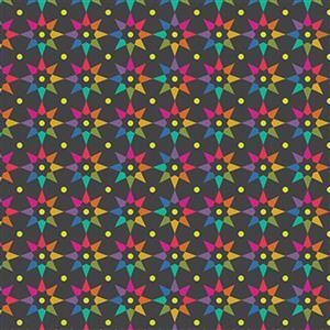 Alison Glass Art Theory Black Multi Star Fabric 0.5m