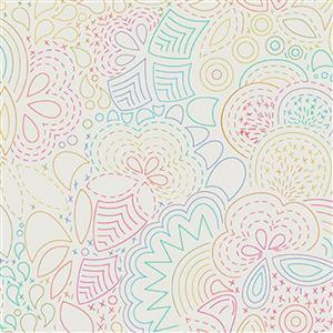 Alison Glass Art Theory Beige Multi Creative Doodles Fabric 0.5m