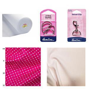 Cerise Spot Zipped Backpack Bundle: Fabric (1m), Fusible Fleece (1m),  D-Rings (4pcs) & Swivel Clip