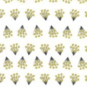 Moda Dwell In Possibility Tiny Bouquets on Ivory with Gold Metallic Fabric 0.5m