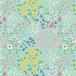 Riley Blake Poppy & Posey Mint Floral Multi Fabric 0.5m
